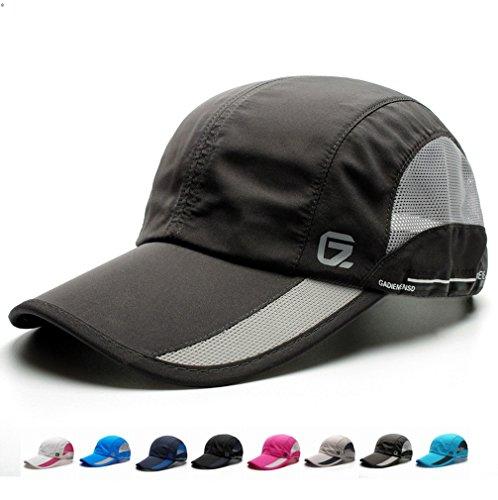 GEEAUASSD Quick Dry Sports Hat Lightweight Breathable Soft comfortable Outdoor Run Cap (Deep Gray) (Neue Ära Golf-hut)