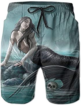Fantastic Mermaid and Skulls Pattern Men's/Boys Casual Shorts Swim Trunks Swimwear Elastic Waist Beach Pants with...