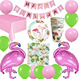 Jolily Flamant Anniversaire Fête Décorations Vaisselle pour 16 invités, 1 Nappe, 16 Tasses, 16 Assiettes, 16 Serviettes Table, BannièreJoyeux Anniversaire, 2 Grands Flamants Roses, 10 Ballons