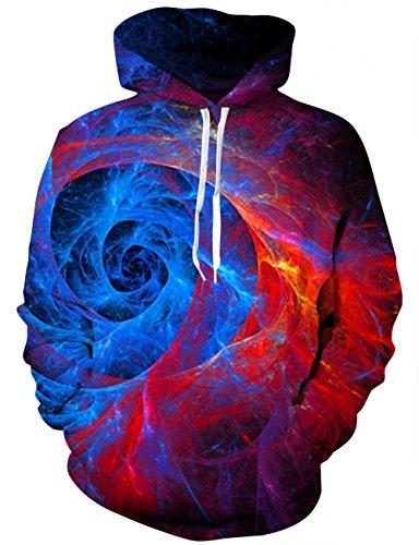 LAIDIPAS Unisex Hoodie 3D Galaxy Print Kapuzen Sweatshirt S (T-shirt Kapuzen-print)