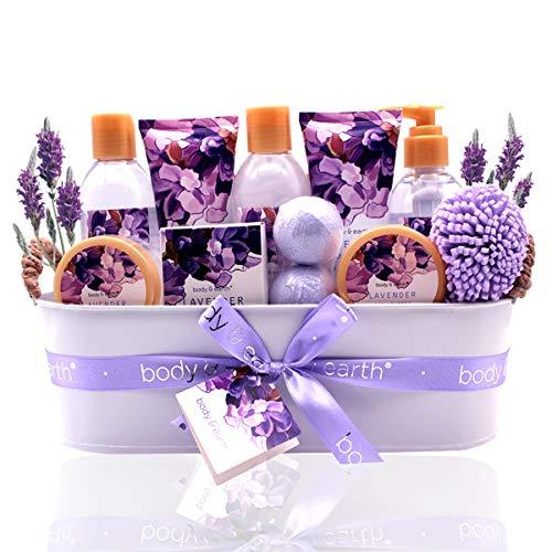 Geschenkset für Frauen - Body&Earth Spa-Kit für Frauen 12 Pcs Badesets mit Lavendel Duft, Enthält Duschgel, Schaumbad, Body Lotion, Handseife, Körperbutter, Badesalz, Badebombe und Mehr -