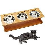 Petilleur Hundenäpfe Katzennäpfe Hoch Futternäpfe für Katzen und Welpe mit Bambus Ständer (51 * 17,5 * 12, Edelstahl)