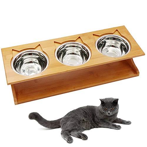 Petilleur Ciotole Rialzate per Gatti Cani Ciotole Gatto Antiscivolo Cane con Supporto in Legno (3 Ciotole, Acciaio Inox)