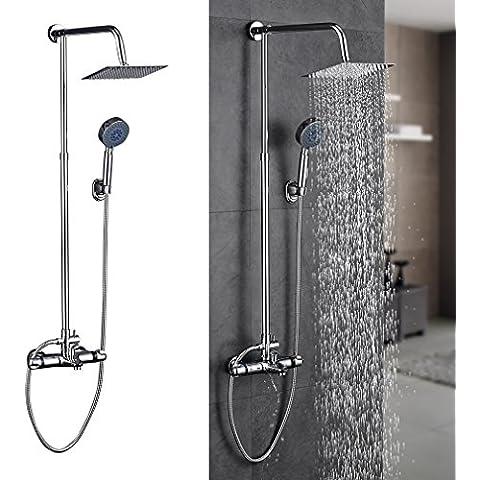 KINNLO Haus Doccia set completo di termostato regolabile in altezza testa rombo di ottone di alta qualità in argento placcato per il bagno e vasca da bagno - Pannello Guarnire