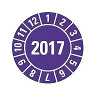 50 Jahresprüfplaketten 2017 Jahr und Monat - violett - selbstklebend 18 mm Durchmesser auf Bogen in robuster Industriequalität auf Premiumfolie