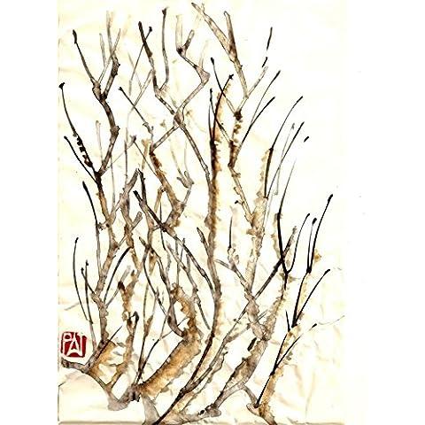 Cepillo de pintura de tinta de agua chino Estilo tela cartel 81,28 cm X cm 60,96/43,18 cm x 33,02 cm, 17