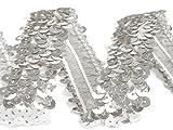 Stretch-Pailletten, Paillettenband, Paillettenborte elastisch, breite 30mm, Verkaufseinheit: 1m (silber)