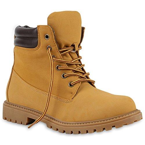 UNISEX Damen Herren Warm Gefütterte Damen Worker Boots Stiefeletten Outdoor Schuhe 130420 Hellbraun Gelb 38 | Flandell (Herren Gelb Kostüm Stiefel)