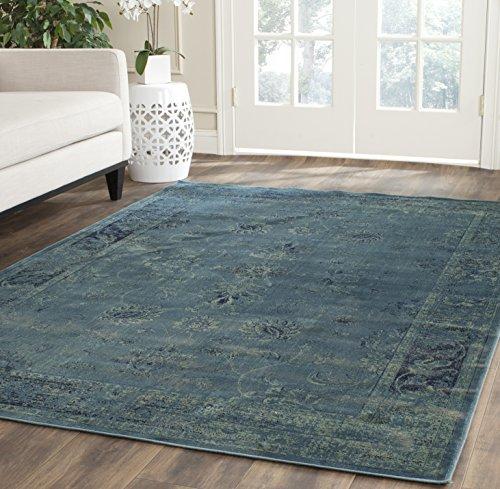 Safavieh Vintage Inspirierter Teppich, VTG117, Gewebter Weiche Viskose-Faser, Türkis Blau / Mehrfarbig, 200 x 300 cm 2220 Clip
