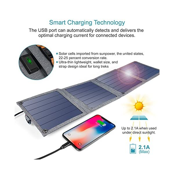 Solar Charger, CHOETECH 14W Waterproof Portable USB Outdoor Solar Panel Charger with 4 Foldable Solar Panel for… 2