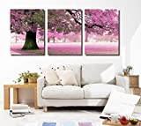 Mon Kunst, quadro componibile, stampa su tela di grandi dimensioni con albero di ciliegio, arte da parete, serie di 3 foto, ognuna di 40 x 60 cm, Black, 40cmx60cmx3 UnFramed
