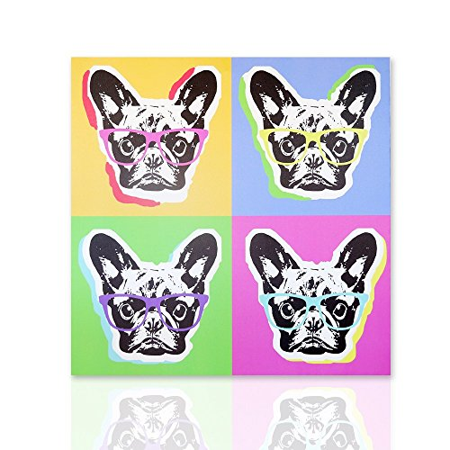 Quadro Bulldog francese pop art - quadro già intelaiato pronto da appendere dipinto su tela pop art -