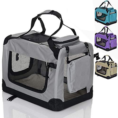 Pet Violet Klappbare Hundebox Hund Transportbox Faltbare Stoff Hundefaltbox Polster Henkel Trage Tasche; 70x52x52 cm Grau