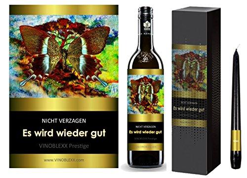ES WIRD WIEDER GUT. 1er Geschenkset KLASSIK Rotwein. Ein Geschenk mit Stil & Prestige in Golddruck das jeden begeistert. Hochwertiger Qualitätswein. Verschiedene Etiketten-Designs, aktuell: Schmetterling