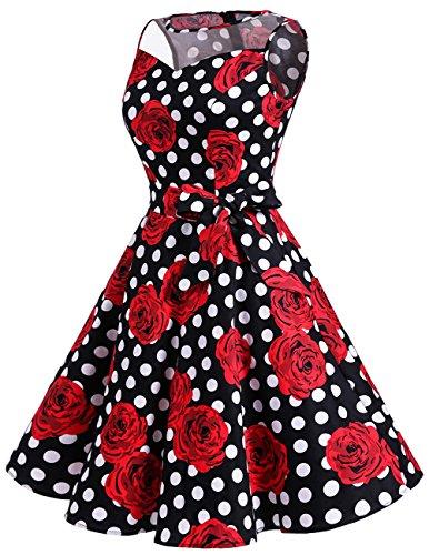 Dresstells Version 12.0 Vintage 1950's robe de soirée cocktail rétro années 50 col rond sans manches Black Red Rose