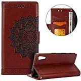 Sony Xperia XZ Case,Sony Xperia XZ Cover,Surakey Mandala Parttern Stand Shock Absorbing Premium Soft PU Leather Case Wallet Cover Flip Cases with Card Slots for Sony Xperia XZ,Brown