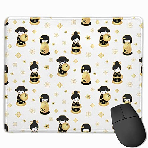 Mouse Pad Japanese Geisha Doll Graphics Rectangle Rubber Mousepad 11.81 X 9.84 Inch Gaming Mouse Pad with Black Lock Edge