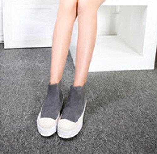 Straw Stiefel unten weibliche Stiefel Duantong Frühling Stiefel flache Schuhe Muffin Grey