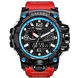 PIO Uhren Vielseitig Zeit Wasserdicht KalenGDEr Herren Outdoor Sports Kunststoff Uhr, Blue Red