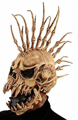 ror-Maske Totenkopf Irokese mit Fangzähnen Halloween Latex Knochen ()