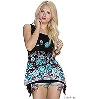 Maglietta maglia donna multicolore ideale per leggings senza maniche assimetrica