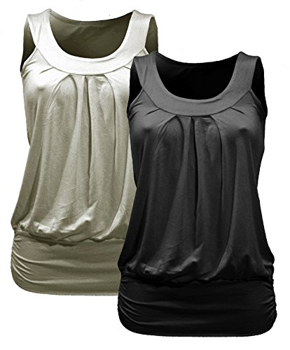 2x Femme tanktops–Dos–Lot de 2pour Homme Top–Débardeur pour homme–Col rond–Tshirt–Lot de 2–5012- Schwarz + Stone