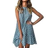 Falda Femenino, Yesmile Maxi Vestidos Suave Lunares Largo Vestido de Mujer de tipo Parte superior del tubo Elegantes Tunica para Boda Fiesta (S, Azul)