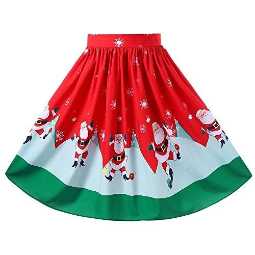 Herrlich Weihnachten Plus Size Midi-Swingrock Fledermaus und Sternendruck Halloween-Rock Damen Vintage Röcke Blumendruck Hohe Taille Gefaltet Eine Linie Wiggle Knie Länge Rock Stil Vintage Rock Knie -