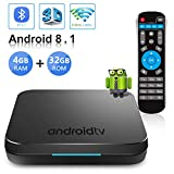 Android TV Box 8.1, 2019 Newest Android Box with 4GB RAM 32GB ROM Amlogic S905X2 Quad Core Bluetooth 4.1 4K Full HD 3D Dual WiFi 2.4G/5G Web TV Box