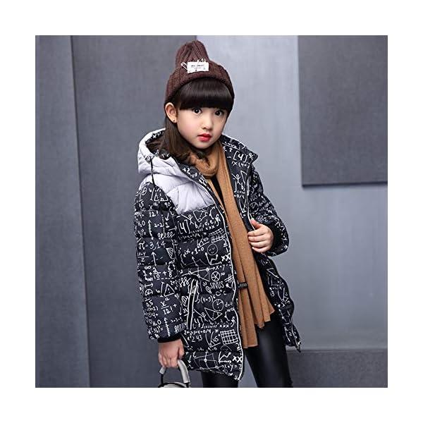 SXSHUN Niñas Abrigo Impermeable para Nieve Anorak Acolchado Padding Chaqueta de Algodón con Capucha Estampado 3