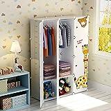 Koossy Erweiterbares Kinderregal Kinder Kleiderschrank mit Giraffe Aufkleber für Kinderzimmer (Weiß, 12 Türen)