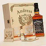6-tlg Whisky Geschenk-Set mit Jack Daniels No.7 | 2 Gläser, 2 Untersetzer und Whiskey Flasche in Geschenk-Box mit Gravur - zum Geburtstag Motiv Jubiläum