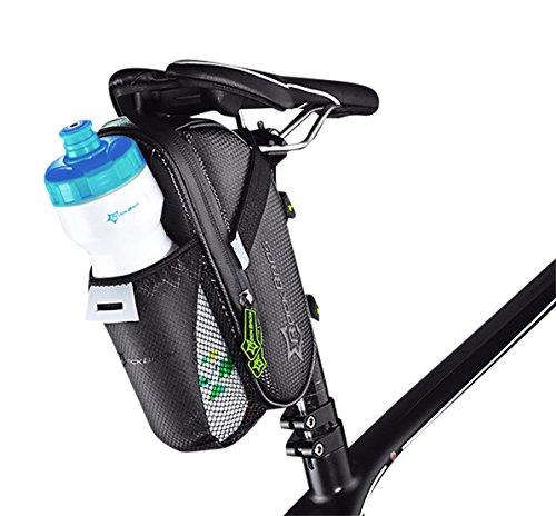 ROCKBROS Fahrrad Satteltasche mit Flaschenhalter • Fahrradtasche Schwarz Wasserdicht • Netztasche für Trinkflasche