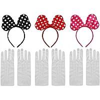 DFX Satin A Pois Minnie Mouse Orecchie + Guanti Bianchi - Costume  combinazione 87549d545afe