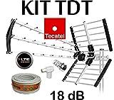 KIT ANTENA TECATEL BKM-18 NEGRA + ROLLO CABLE TELEVES DE 20MT TELEVES + Y CONECTORES