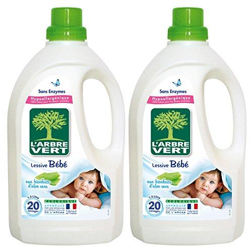 L'Arbre Vert - Lessive Liquide Bébé à l'Aloe Vera - 20 Lavages - 1,5 L - Lot de 2