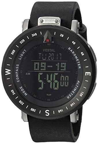 Vestal Men's 'Guide Makers' Quartz Stainless Steel and Leather Dress Watch, Color Black (Model: GUI48-KL03)