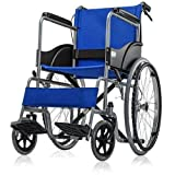 Shree surgical premium Basic Foldable wheel chair blue With Seat Belt & Dual