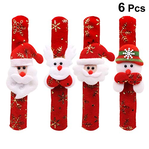 (STOBOK Netter Cartoon-Weihnachtsmann Schneemannelch Schlagen Armband Schneeflockengold, Das Armband für Kinder sortierte Arten 6PCS stempelt)