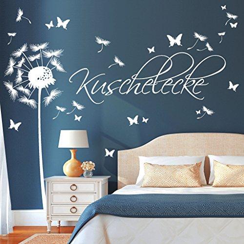Wandtattoo Pusteblume Schmetterling Pollen Schriftzug Kuschelecke transparent / 1,14 m x 3,59 m + Schriftzug 0,23 x 0,71 m