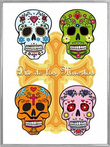 1art1 Cráneos Póster Impresión Artística con Marco...