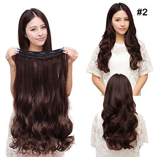 """Superex® 23"""" 3/4 Clip in Extensions Halbperücke Haarverlängerung Haarverdichtung Haarteil Perücke weiche Locken / wellig gewellt One Piece mit 5 clips (Dunkelbraun)"""