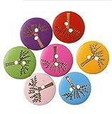 Leisial 100 Stücke Kinder Knöpfe Bäume Knöpfe 20mm 2-Loch Holz Knöpfe Kinder Button Mix DIY Basteln Nähen Zufällige Farben