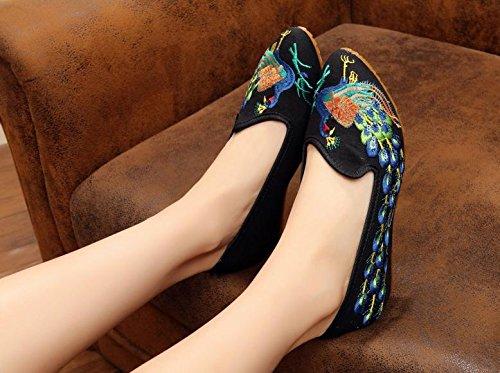&hua Feine bestickte Schuhe, Sehnensohle, ethnischer Stil, weibliche Schuhe, Mode, bequeme, exquisite Segeltuchschuhe Black