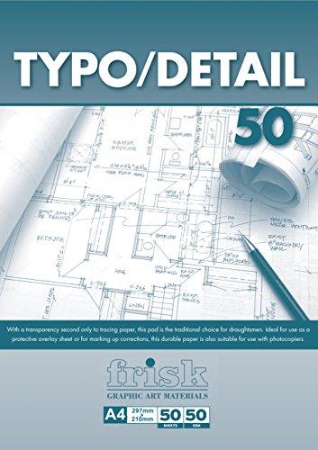 Frisk - Blocco di Carta per Disegno Tecnico, Formato A4, 50 g/mq, Colore Trasparente