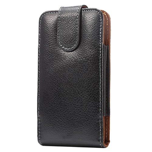 DFV mobile - Gürteltasche Echtleder Etui mit GürtelclipsSwivel 360º aus Premium Echtem Leder für=> ASUS ZENFONE 3 Deluxe 5.5 ZS550KL > Schwarz