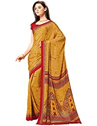 Ligalz Women's Yellow Crepe Silk Saree (Special Discounted Price Only For THE GREAT INDIAN FESTIVAL)