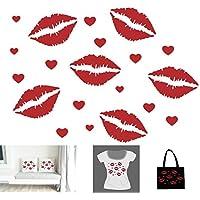 Motif 6 Lèvres Bisous Bouches + 14 Petits Coeurs Unis . Transfert Appliqué Patch écusson en flex thermocollant pour tissus
