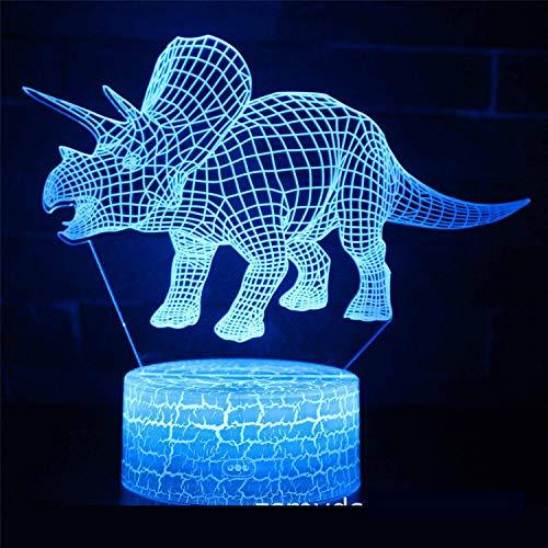 3D LED Optische Täuschung Lampen Nachtlicht 7 Farben Kunst Skulptur Lichter Mit Usb-Kabel Schlafzimmer Schreibtisch Tischdekoration Lampe Für Kinder Erwachsene DinosaurierGeschenk Des Kindes