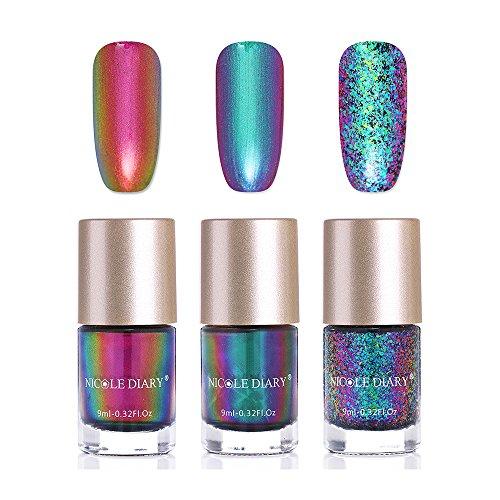 NICOLE DIARY Chameleon Nagellack schillernden Glitter Nail Art Lack glänzend Chrom Effektlack Quick Dry Maniküre Dekoration Kit (3 Farben)